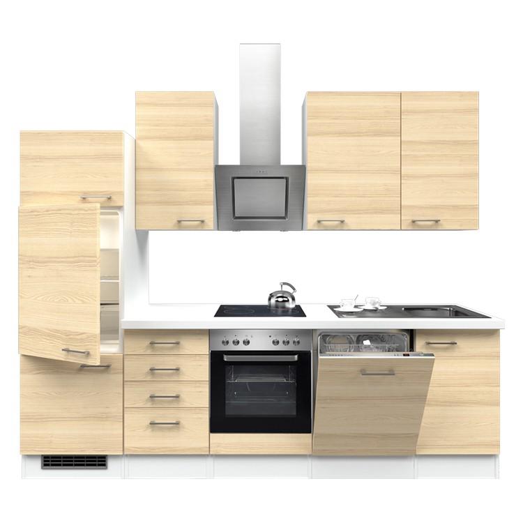 Küchenzeile Lora – Einbaugeräte – Spüle – 280 cm – Akazien Dekor – Weiß / Weiß, Modus Küchen jetzt bestellen