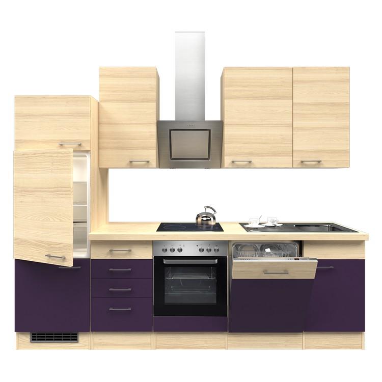 Küchenzeile Lora – Einbaugeräte – Spüle – 280 cm – Aubergine – Akazien Dekor, Modus Küchen online kaufen