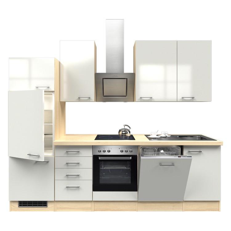 Küchenzeile Lora – Einbaugeräte – Spüle – 280 cm – Perlglanz Softwhite – Akazien Dekor, Modus Küchen günstig