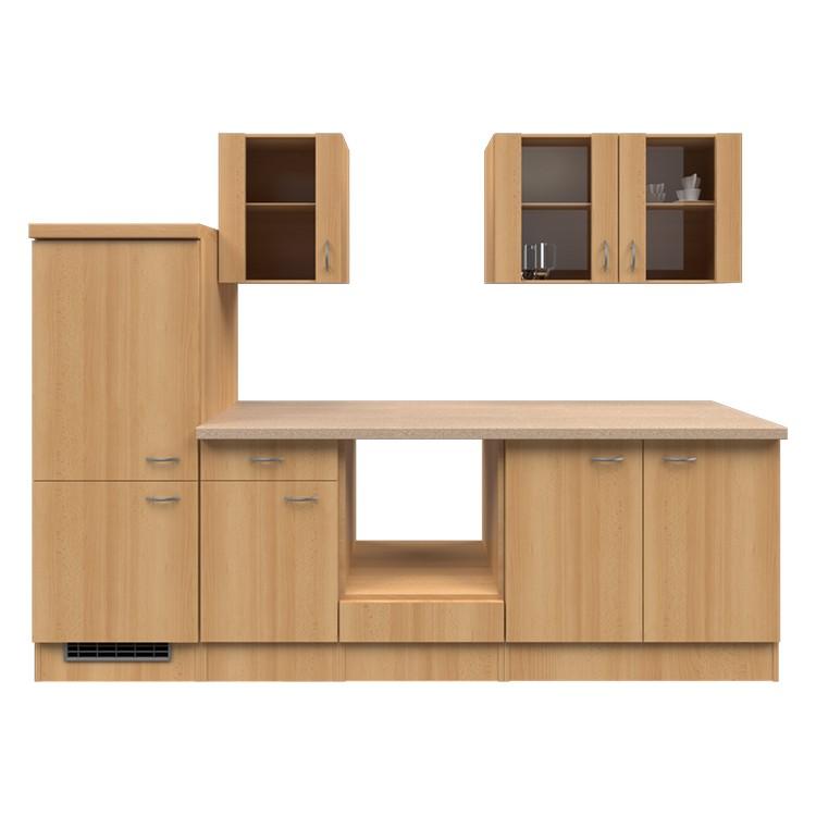 Küchenzeile Lukas – Leerblock – 270 cm – Buche Dekor – Buche Dekor, Modus Küchen bestellen