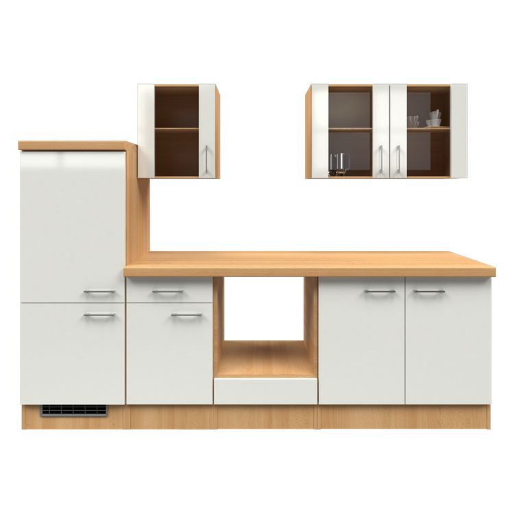 Küchenzeile Lukas – Leerblock – 270 cm – Perlglanz Softwhite – Buche Dekor, Modus Küchen günstig online kaufen