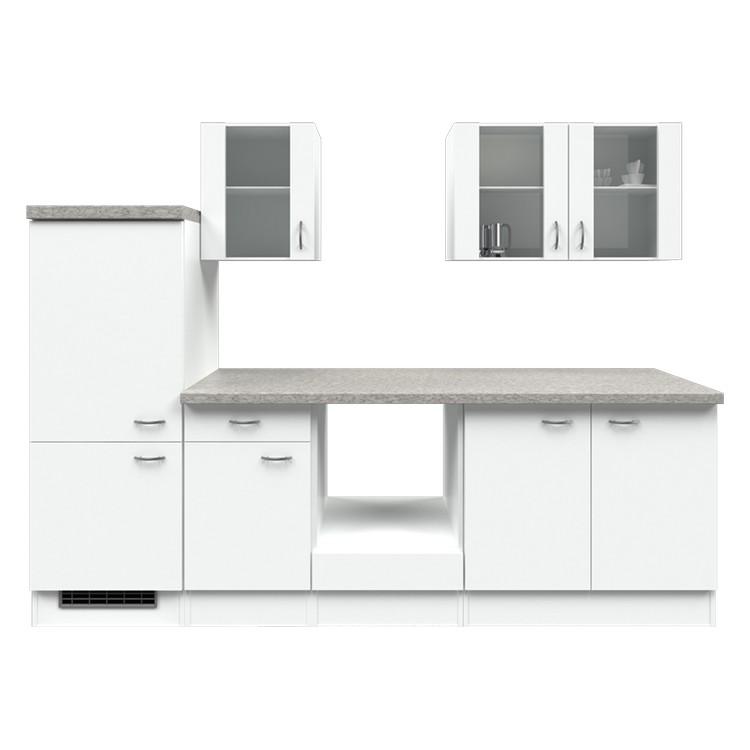 Küchenzeile Lukas – Leerblock – 270 cm – Weiß / Weiß – Weiß / Weiß, Modus Küchen günstig