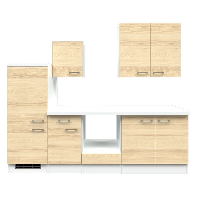 Küchenzeile Maira – Leerblock – 270 cm – Akazien Dekor – Weiß / Weiß, Modus Küchen bestellen