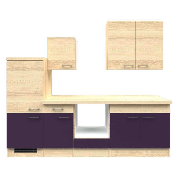 Küchenzeile Maira – Leerblock – 270 cm – Aubergine – Akazien Dekor, Modus Küchen jetzt kaufen