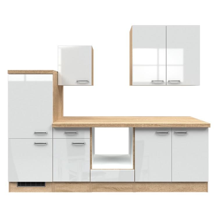Küchenzeile Maira – Leerblock – 270 cm – Hochglanz Weiß – Eiche Sonoma Dekor, Modus Küchen online kaufen