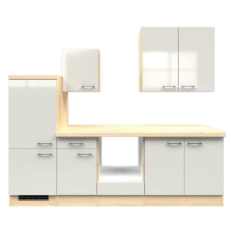 Küchenzeile Maira – Leerblock – 270 cm – Perlglanz Softwhite – Akazien Dekor, Modus Küchen jetzt bestellen