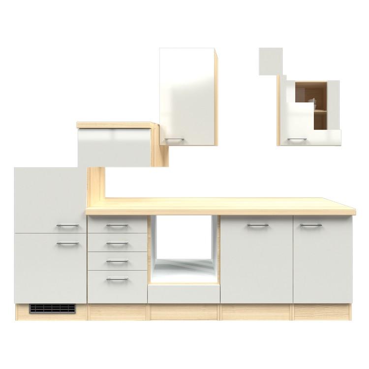 Küchenzeile Matz – Leerblock – 280 cm – Perlglanz Softwhite – Akazien Dekor, Modus Küchen günstig