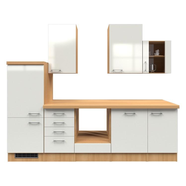 Küchenzeile Matz – Leerblock – 280 cm – Perlglanz Softwhite – Buche Dekor, Modus Küchen bestellen