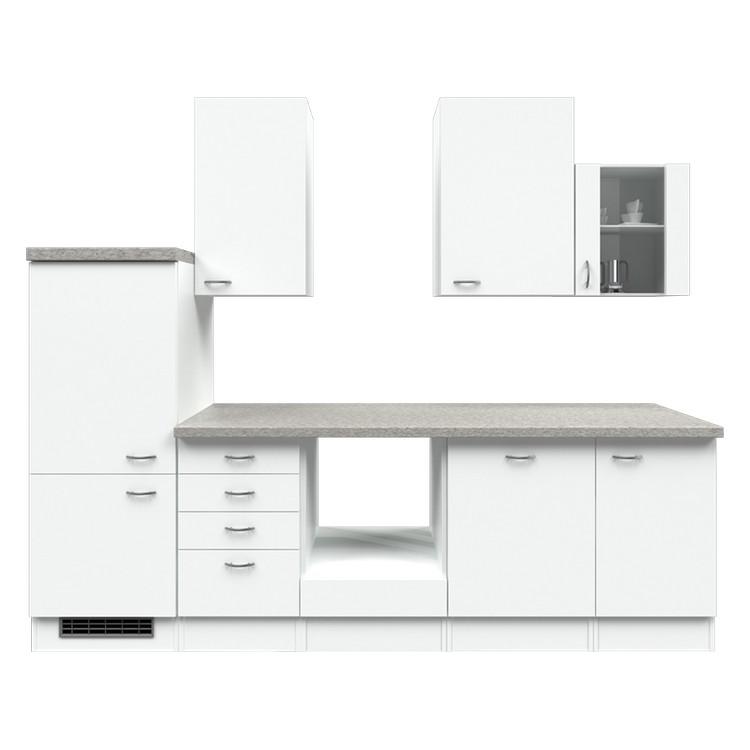 Küchenzeile Matz – Leerblock – 280 cm – Weiß / Weiß – Weiß / Weiß, Modus Küchen online bestellen
