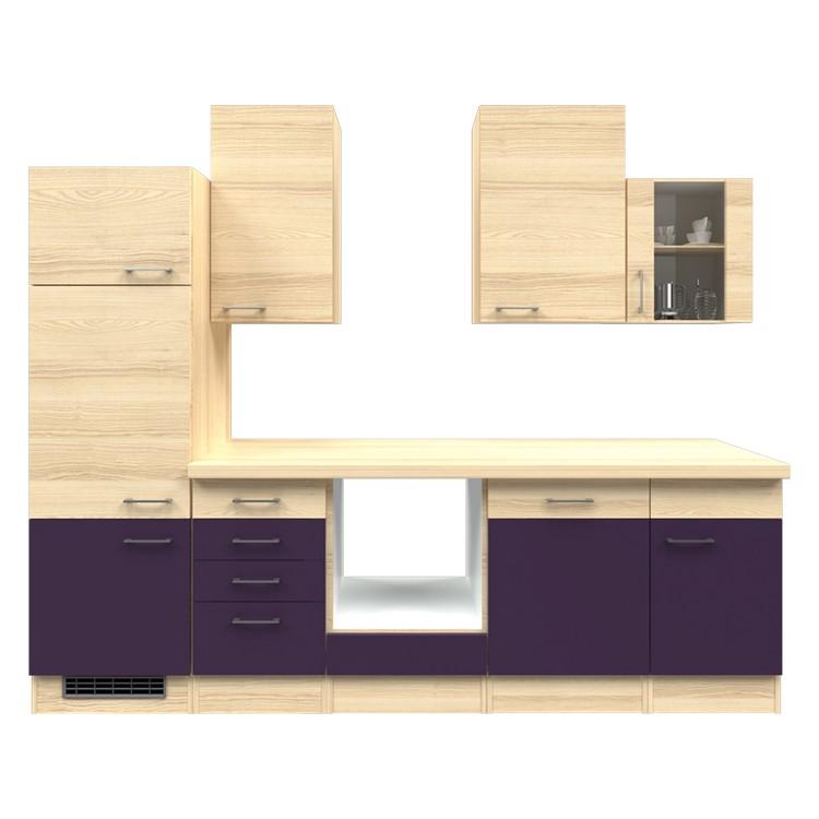 Küchenzeile Merrit – Leerblock – 280 cm – Aubergine – Akazien Dekor, Modus Küchen bestellen