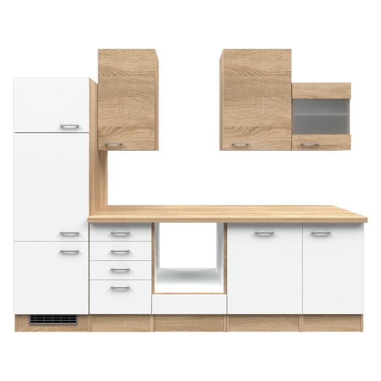 Küchenzeile Merrit – Leerblock – 280 cm – Eiche Sonoma Dekor / Weiß – Eiche Sonoma Dekor, Modus Küchen günstig