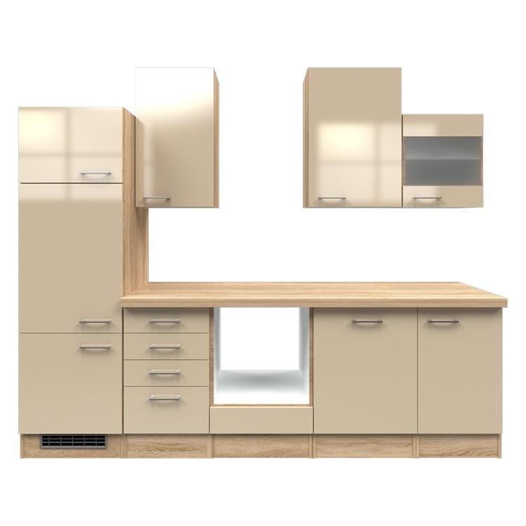Küchenzeile Merrit – Leerblock – 280 cm – Kaschmir – Eiche Sonoma Dekor, Modus Küchen günstig bestellen