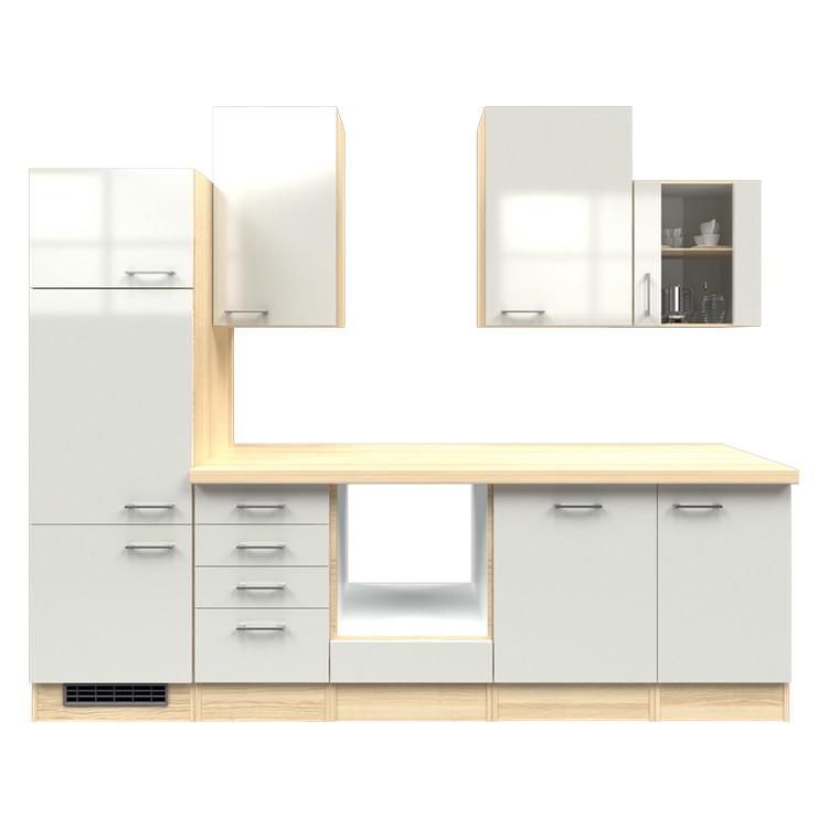 Küchenzeile Merrit – Leerblock – 280 cm – Perlglanz Softwhite – Akazien Dekor, Modus Küchen günstig bestellen