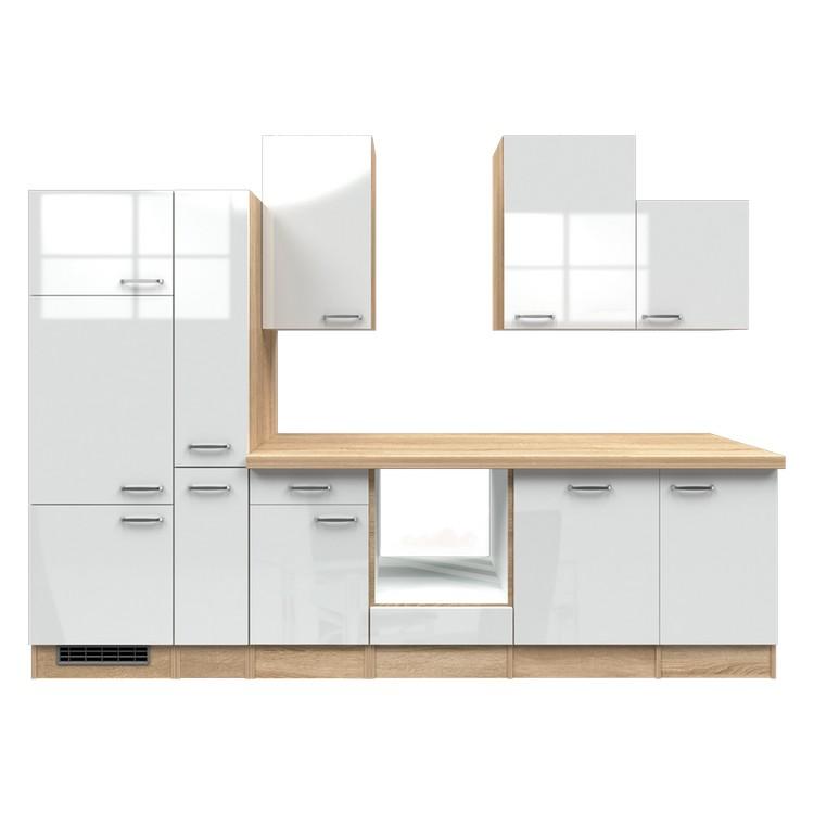 Küchenzeile Mia – Leerblock – 310 cm – Hochglanz Weiß – Eiche Sonoma Dekor, Modus Küchen jetzt bestellen