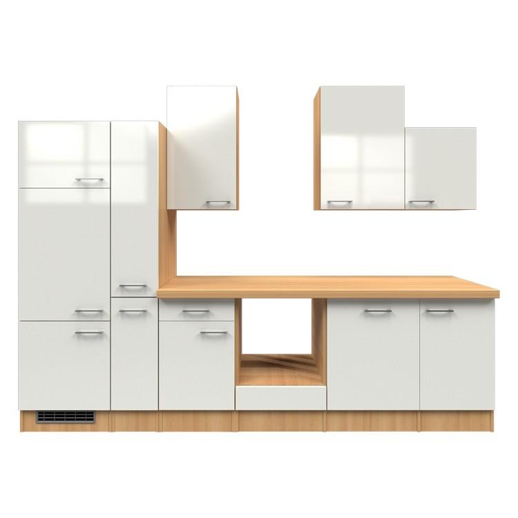 Küchenzeile Mia – Leerblock – 310 cm – Perlglanz Softwhite – Buche Dekor, Modus Küchen jetzt bestellen