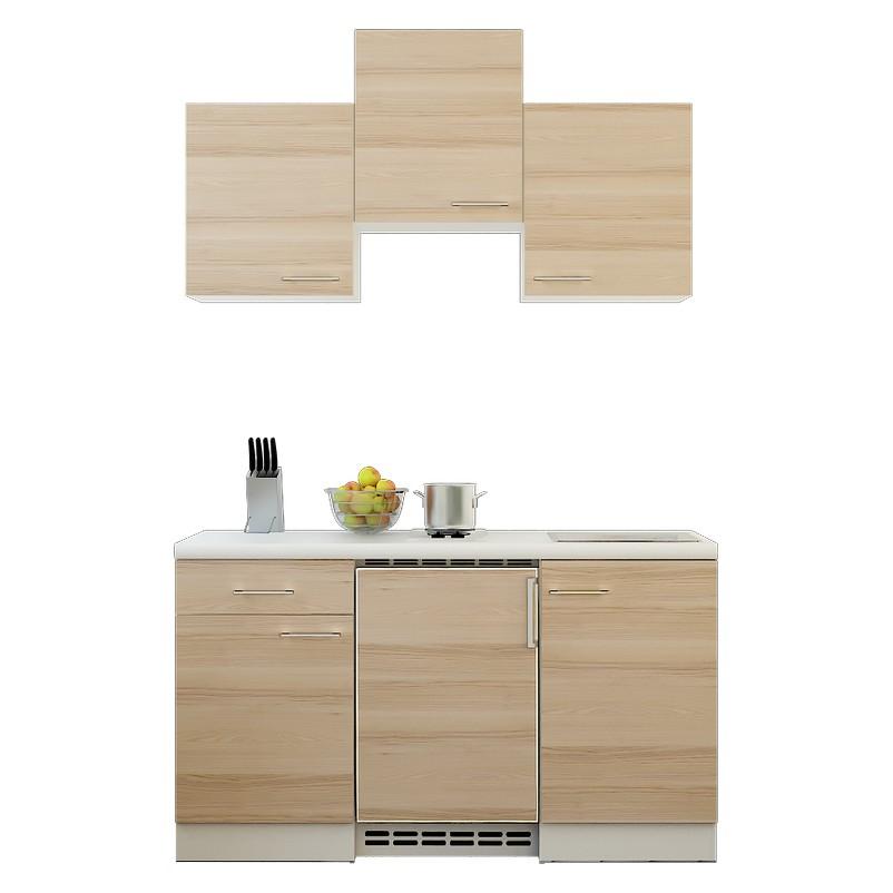 Küchenzeile Michel – Einbaugeräte – Spüle – 150 cm – Akazien Dekor – Weiß / Weiß, Modus Küchen kaufen