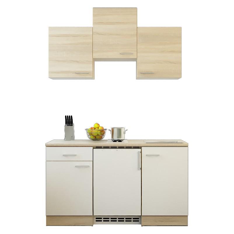 Küchenzeile Michel – Einbaugeräte – Spüle – 150 cm – Eiche Sonoma Dekor / Weiß – Eiche Sonoma Dekor, Modus Küchen bestellen