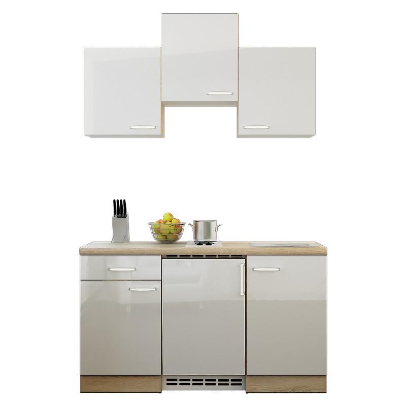 Küchenzeile Michel – Einbaugeräte – Spüle – 150 cm – Hochglanz Weiß – Eiche Sonoma Dekor, Modus Küchen kaufen