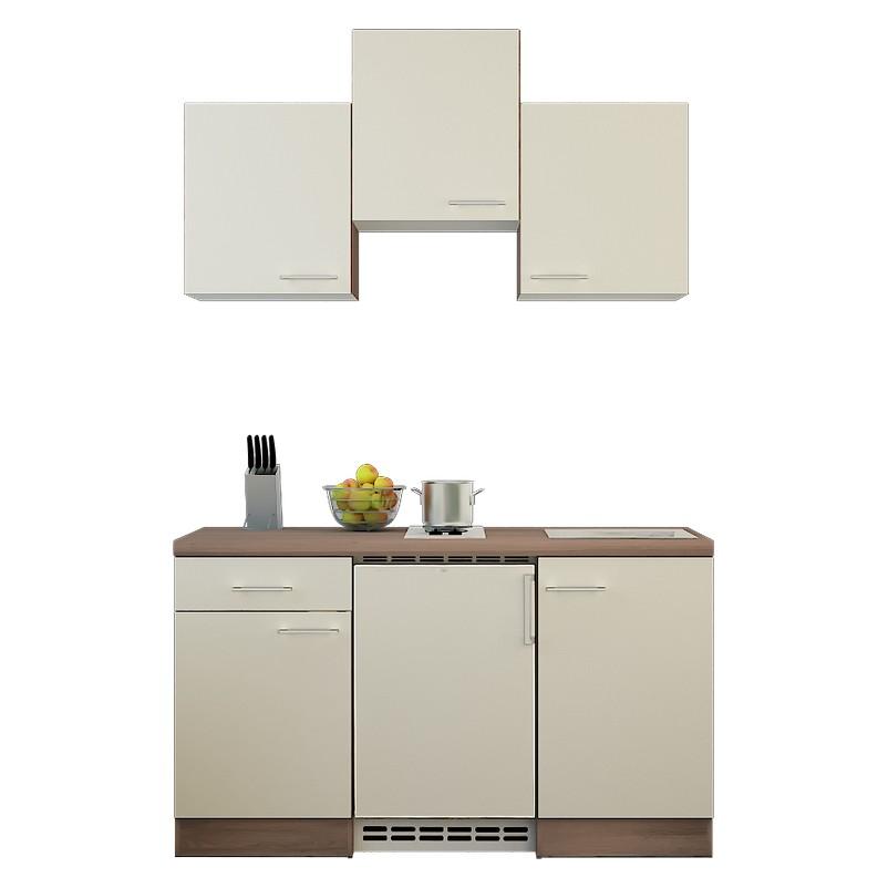 Küchenzeile Michel – Einbaugeräte – Spüle – 150 cm – Magnolienweiß – Eiche Dekor, Modus Küchen online kaufen