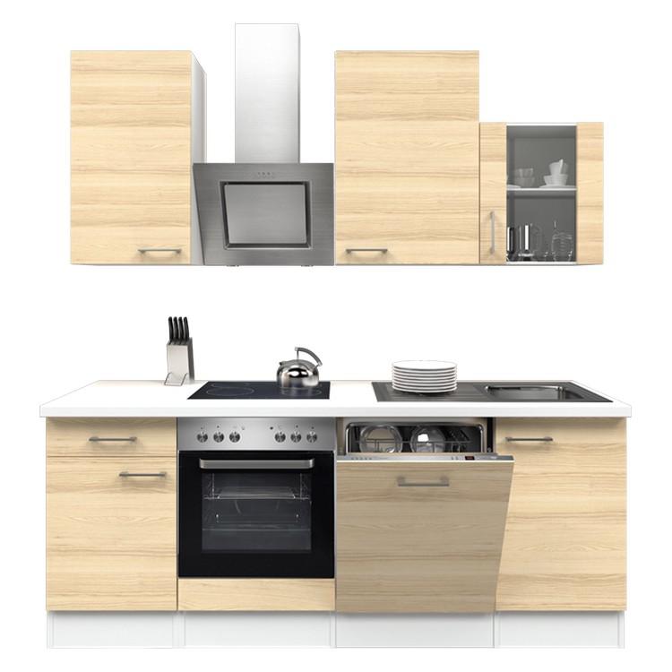 Küchenzeile Mike – Einbaugeräte – Spüle – 220 cm – Akazien Dekor – Weiß / Weiß, Modus Küchen jetzt kaufen