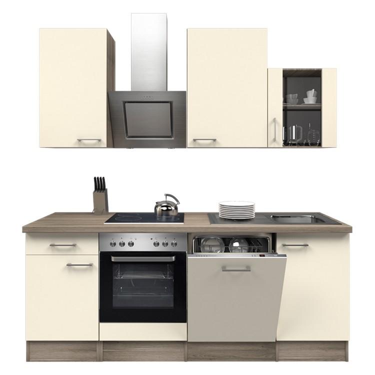 Küchenzeile Mike – Einbaugeräte – Spüle – 220 cm – Magnolienweiß – Eiche Dekor, Modus Küchen günstig bestellen