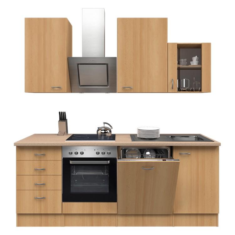 Küchenzeile Moritz – Einbaugeräte – Spüle – 220 cm – Buche Dekor – Buche Dekor, Modus Küchen online bestellen