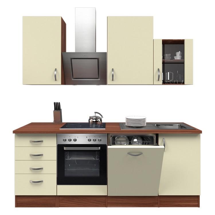 Küchenzeile Moritz – Einbaugeräte – Spüle – 220 cm – Creme – Pflaume, Modus Küchen günstig online kaufen