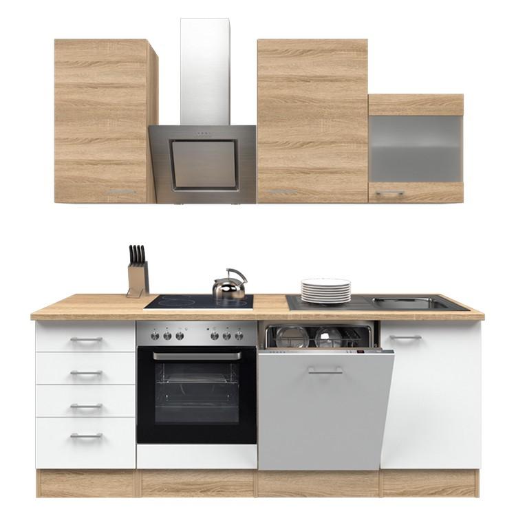 Küchenzeile Moritz – Einbaugeräte – Spüle – 220 cm – Eiche Sonoma Dekor / Weiß – Eiche Sonoma Dekor, Modus Küchen günstig online kaufen