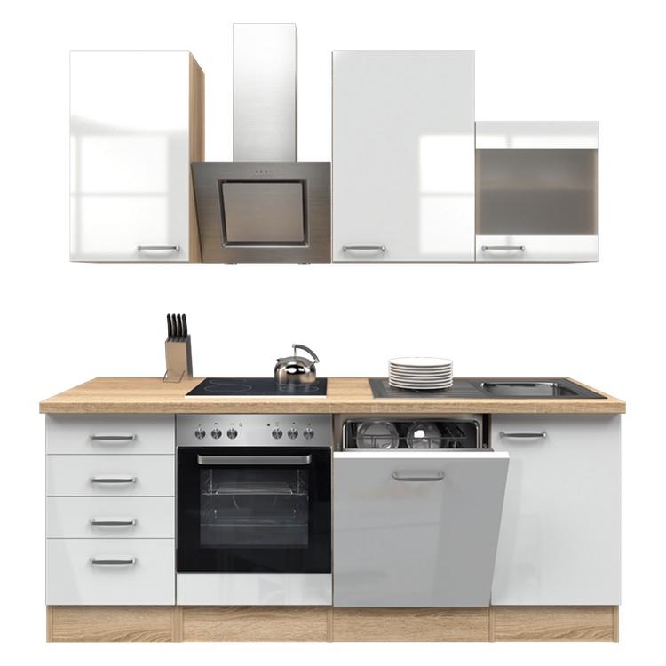 Küchenzeile Moritz – Einbaugeräte – Spüle – 220 cm – Hochglanz Weiß – Eiche Sonoma Dekor, Modus Küchen günstig
