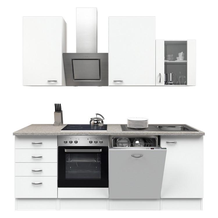 Küchenzeile Moritz – Einbaugeräte – Spüle – 220 cm – Weiß / Weiß – Weiß / Weiß, Modus Küchen günstig kaufen