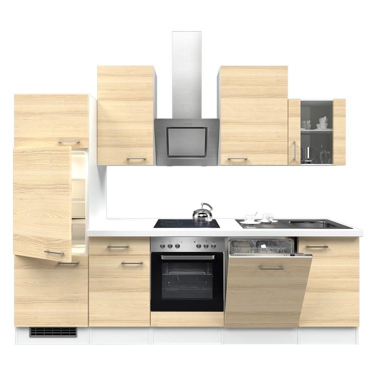 Küchenzeile Nico – Einbaugeräte – Spüle – 280 cm – Akazien Dekor – Weiß / Weiß, Modus Küchen online bestellen
