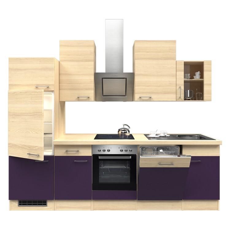 Küchenzeile Nico – Einbaugeräte – Spüle – 280 cm – Aubergine – Akazien Dekor, Modus Küchen jetzt bestellen