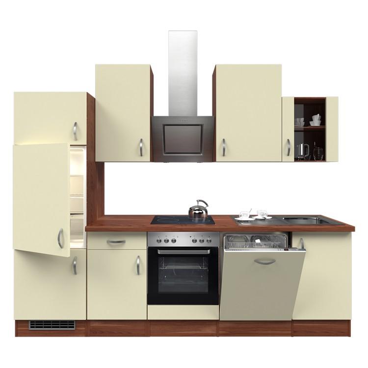 Küchenzeile Nico – Einbaugeräte – Spüle – 280 cm – Creme – Pflaume, Modus Küchen günstig bestellen