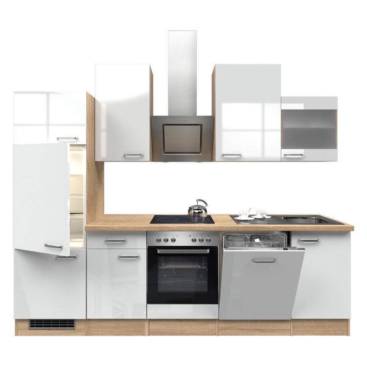 Küchenzeile Nico – Einbaugeräte – Spüle – 280 cm – Hochglanz Weiß – Eiche Sonoma Dekor, Modus Küchen günstig online kaufen