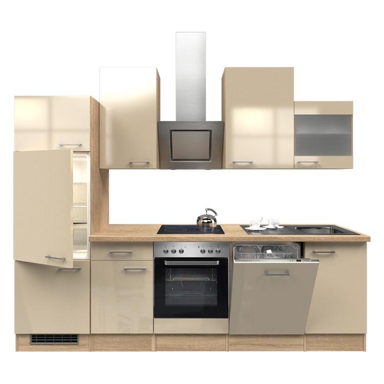 Küchenzeile Nico – Einbaugeräte – Spüle – 280 cm – Kaschmir – Eiche Sonoma Dekor, Modus Küchen online kaufen