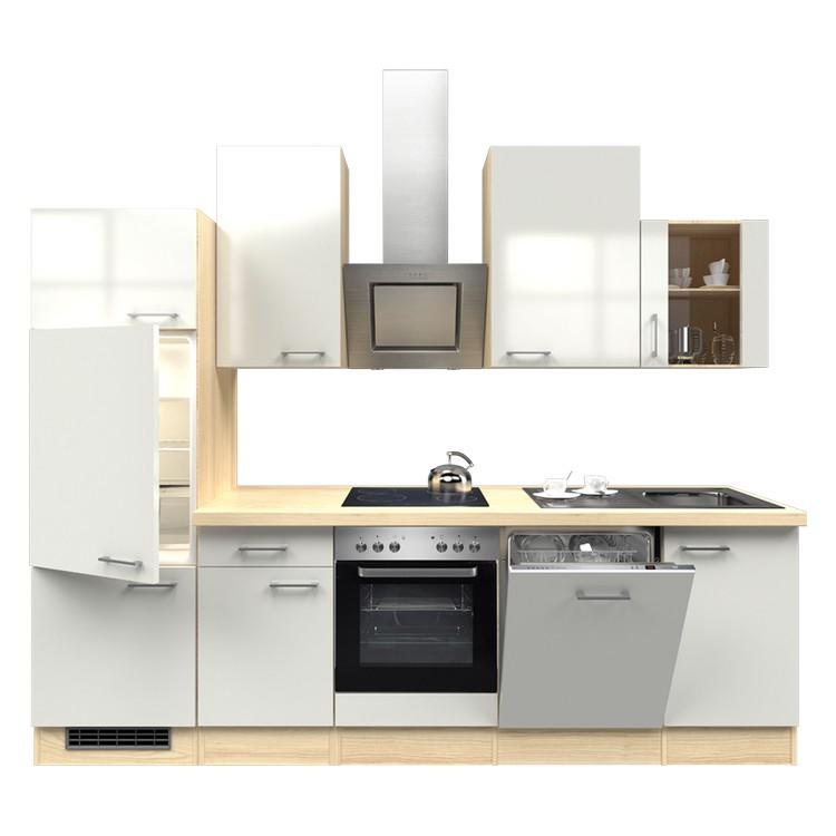 Küchenzeile Nico – Einbaugeräte – Spüle – 280 cm – Perlglanz Softwhite – Akazien Dekor, Modus Küchen bestellen