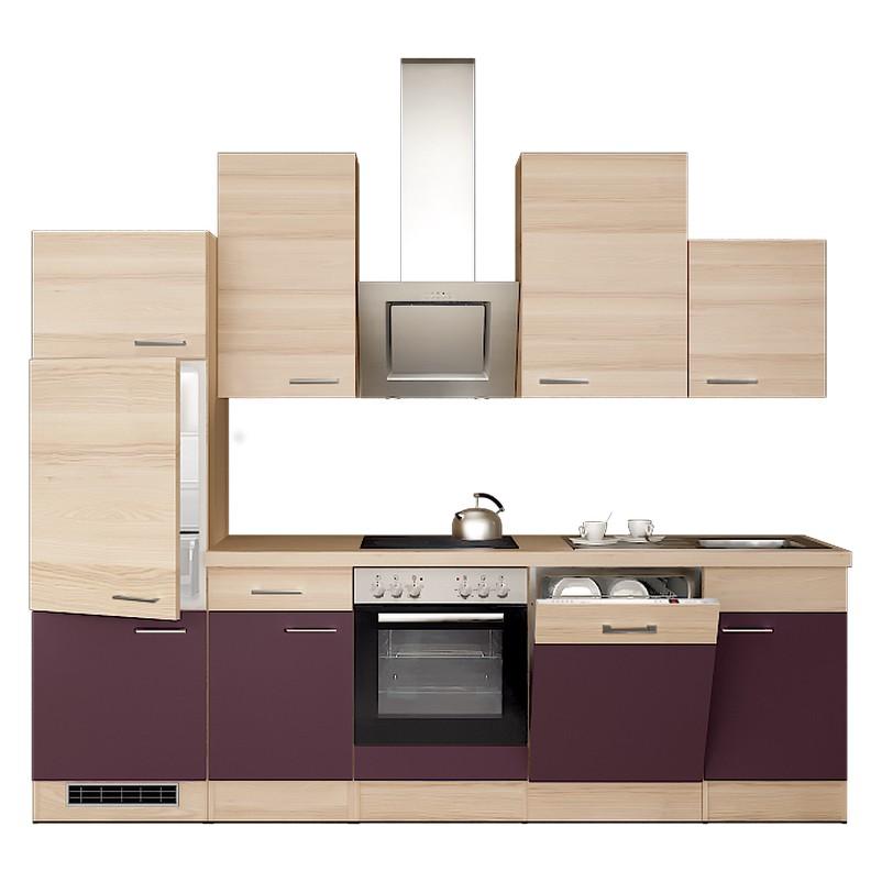Küchenzeile Nils – Einbaugeräte – Spüle – 280 cm – Aubergine – Akazien Dekor, Modus Küchen günstig online kaufen