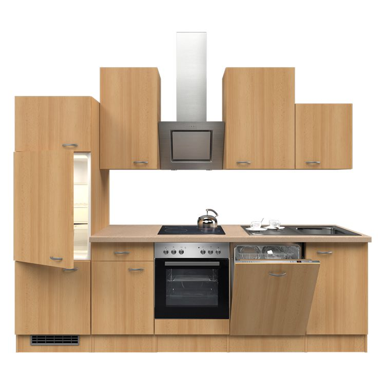Küchenzeile Nils – Einbaugeräte – Spüle – 280 cm – Buche Dekor – Buche Dekor, Modus Küchen bestellen