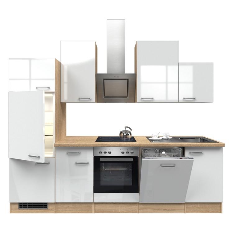 Küchenzeile Nils – Einbaugeräte – Spüle – 280 cm – Hochglanz Weiß – Eiche Sonoma Dekor, Modus Küchen günstig