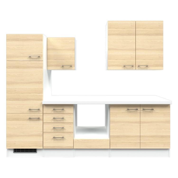 Küchenzeile Paale – Leerblock – 270 cm – Akazien Dekor – Weiß / Weiß, Modus Küchen günstig