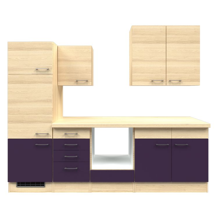 Küchenzeile Paale – Leerblock – 270 cm – Aubergine – Akazien Dekor, Modus Küchen günstig kaufen
