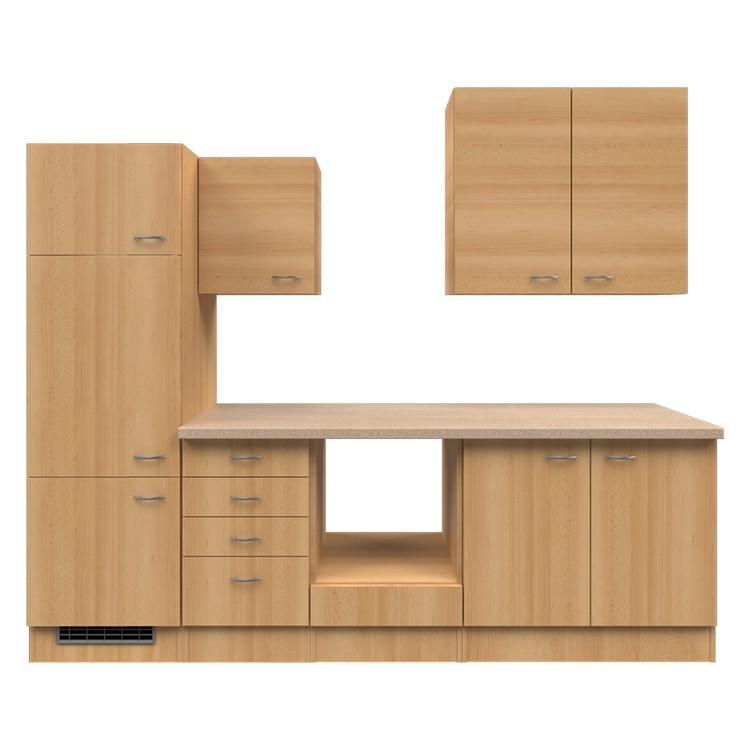 Küchenzeile Paale – Leerblock – 270 cm – Buche Dekor – Buche Dekor, Modus Küchen jetzt bestellen