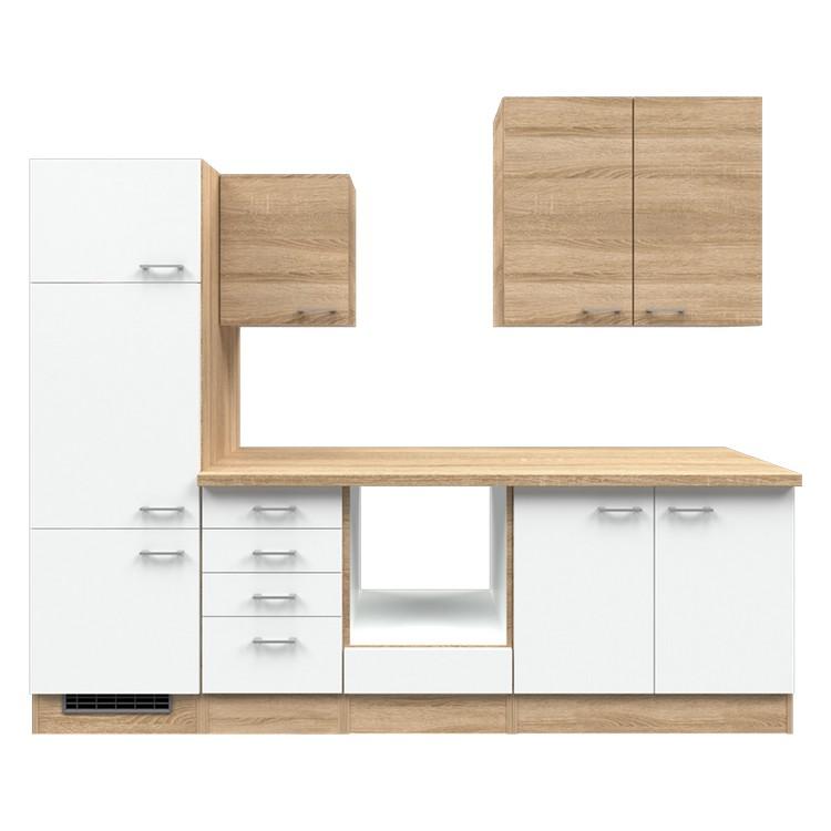 Küchenzeile Paale – Leerblock – 270 cm – Eiche Sonoma Dekor / Weiß – Eiche Sonoma Dekor, Modus Küchen kaufen