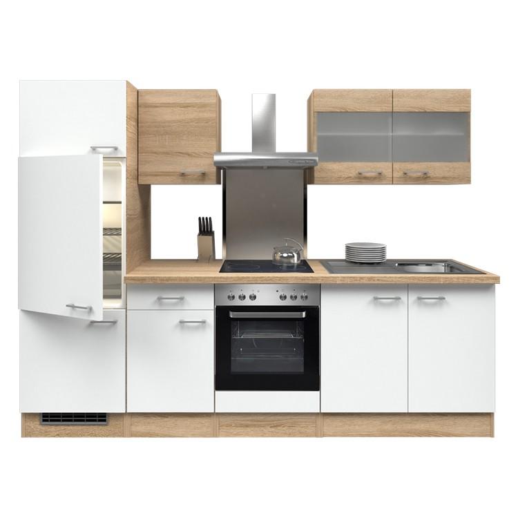 Küchenzeile Thilo – Einbaugeräte – Spüle – 270 cm – Eiche Sonoma Dekor / Weiß – Eiche Sonoma Dekor, Modus Küchen bestellen