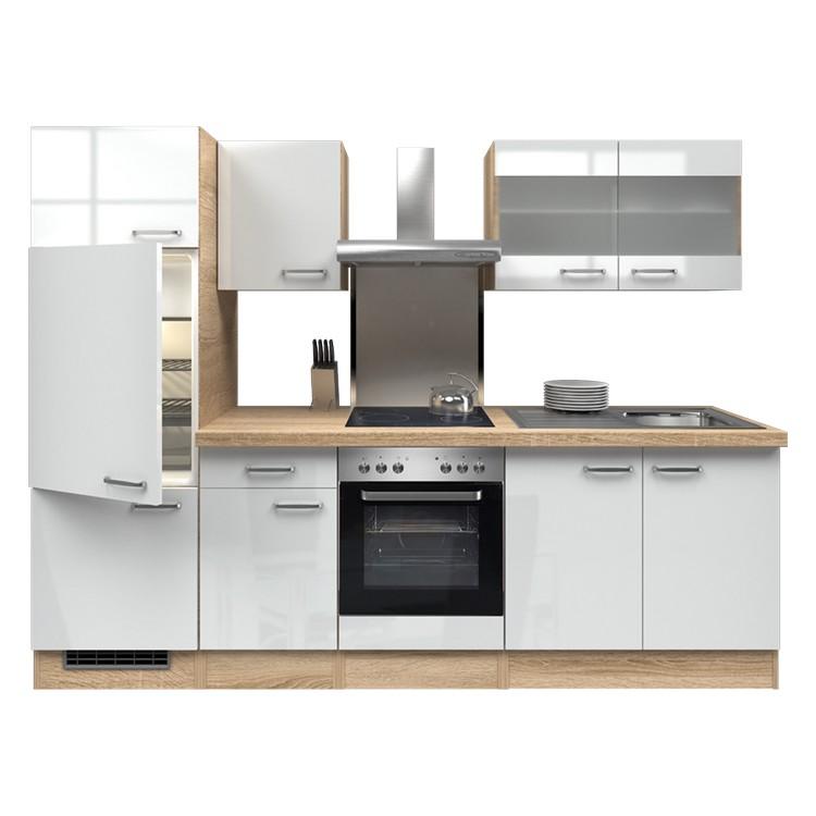Küchenzeile Thilo – Einbaugeräte – Spüle – 270 cm – Hochglanz Weiß – Eiche Sonoma Dekor, Modus Küchen bestellen