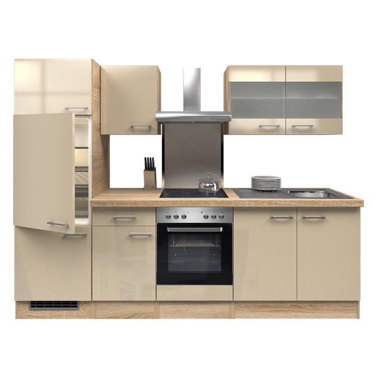 Küchenzeile Thilo – Einbaugeräte – Spüle – 270 cm – Kaschmir – Eiche Sonoma Dekor, Modus Küchen günstig online kaufen
