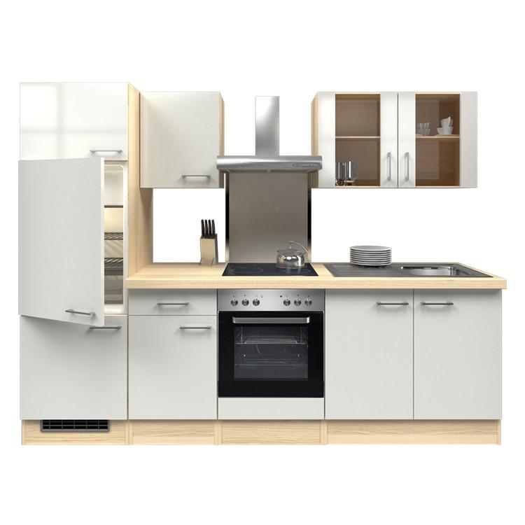Küchenzeile Thilo – Einbaugeräte – Spüle – 270 cm – Perlglanz Softwhite – Akazien Dekor, Modus Küchen online kaufen