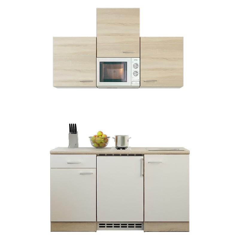Küchenzeile Tobi – Einbaugeräte – Spüle – 150 cm – Eiche Sonoma Dekor / Weiß – Eiche Sonoma Dekor, Modus Küchen günstig