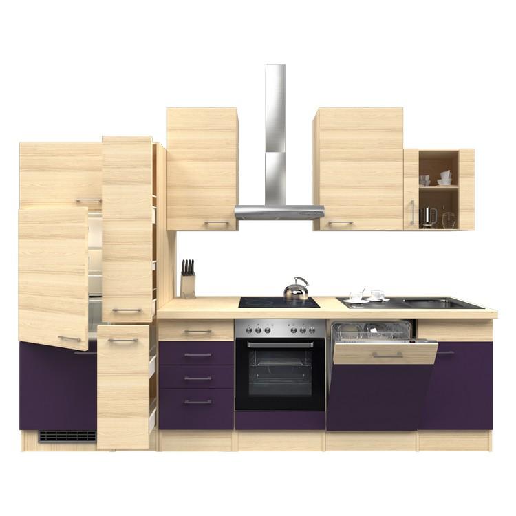 Küchenzeile Torge – Einbaugeräte – Spüle – 310 cm – Aubergine – Akazien Dekor, Modus Küchen günstig online kaufen
