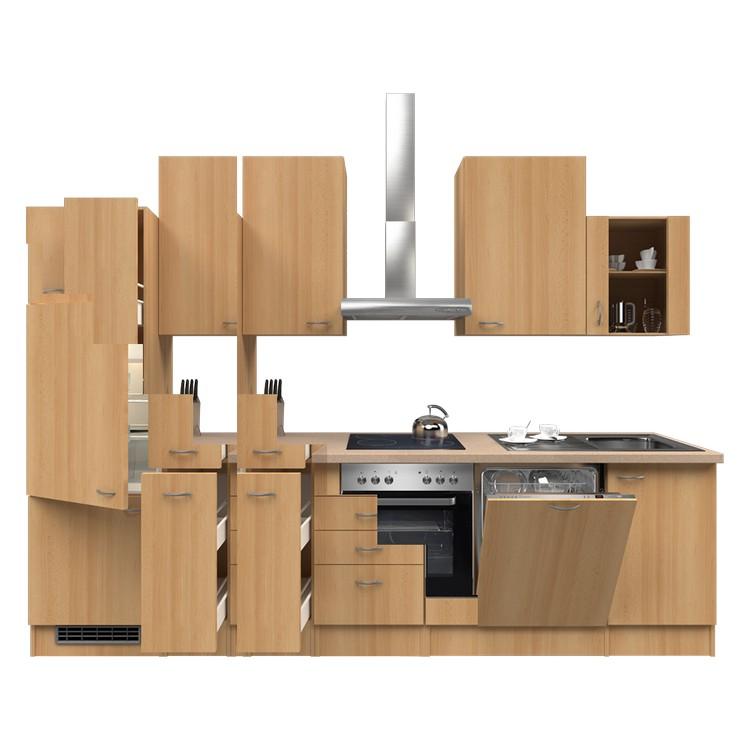Küchenzeile Torge – Einbaugeräte – Spüle – 310 cm – Buche Dekor – Buche Dekor, Modus Küchen bestellen